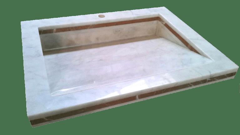 Lavabo de mármol modelo AM100 en color blanco macael