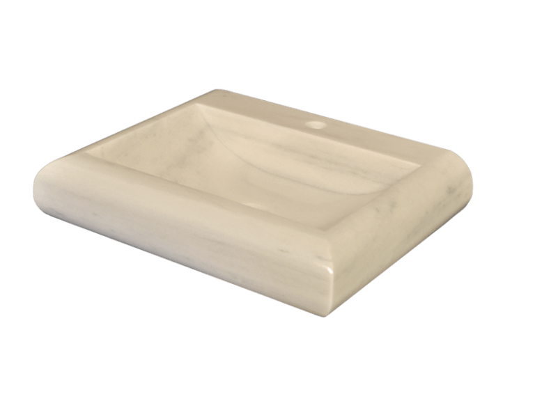 Lavabo de mármol modelo AM13 en color blanco macael visto desde arriba