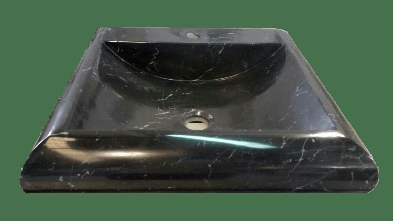 Lavabo de mármol modelo AM13 en color negro marquina visto de frente