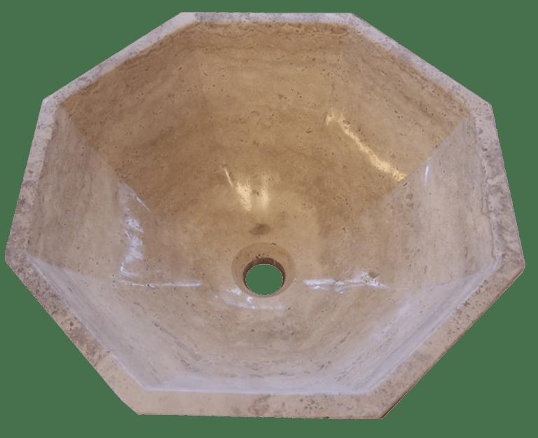 Lavabo de travertino octogonal