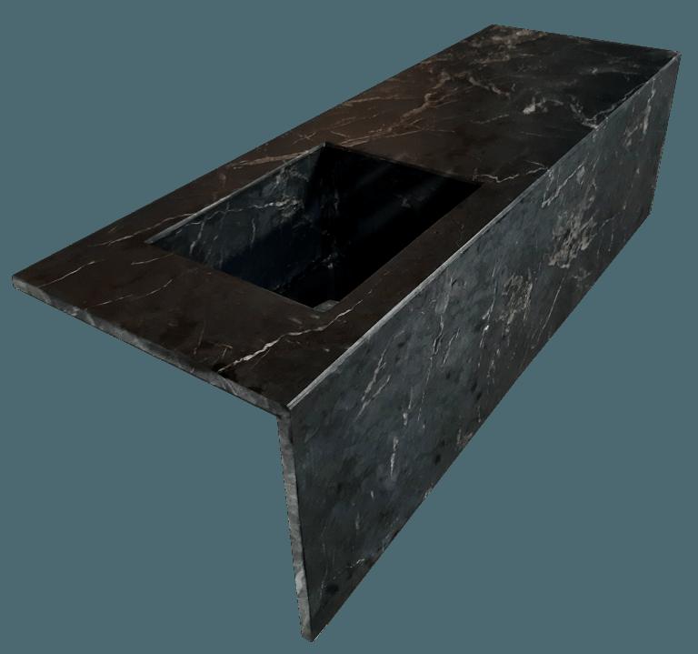 Encimera de Mármol modelo EN150 en color negro marquina