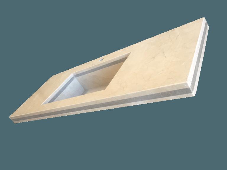 Encimera de baño con lavabo de mármol modelo EN120 en color crema marfil