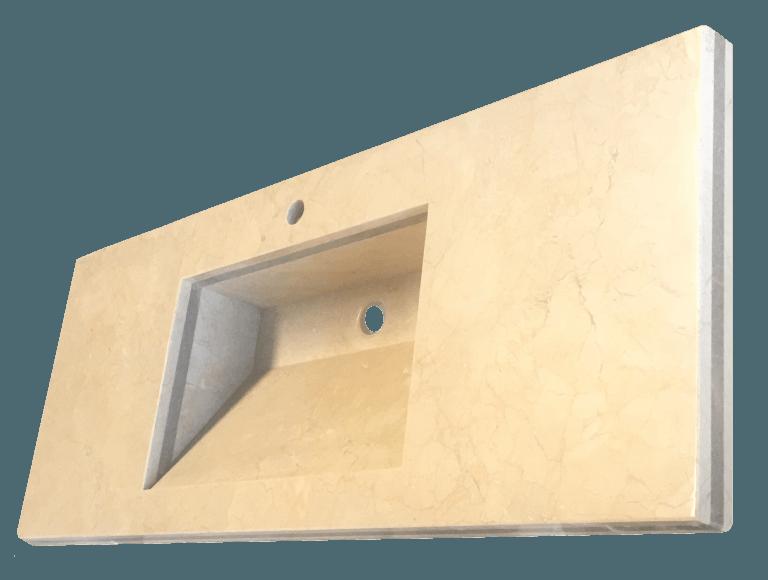Encimera de baño con lavabo de mármol modelo EN120 en color crema marfil 3