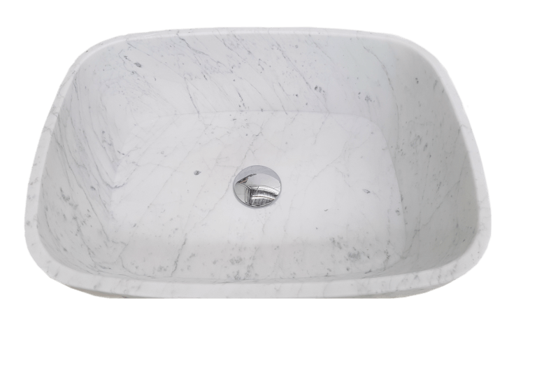 Lavabo de mármol modelo AM50 en color blanco carrara 2