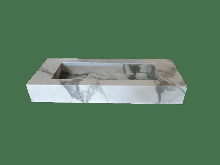 Lavabo de Mármol modelo AM145 en color blanco calacatta 2