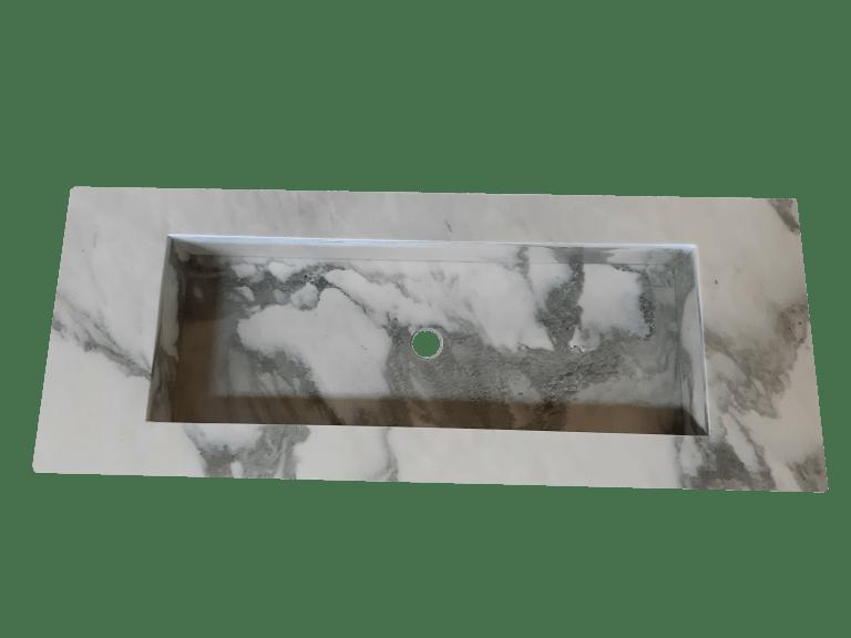 Lavabo de Mármol modelo AM145 en color blanco calacatta 3