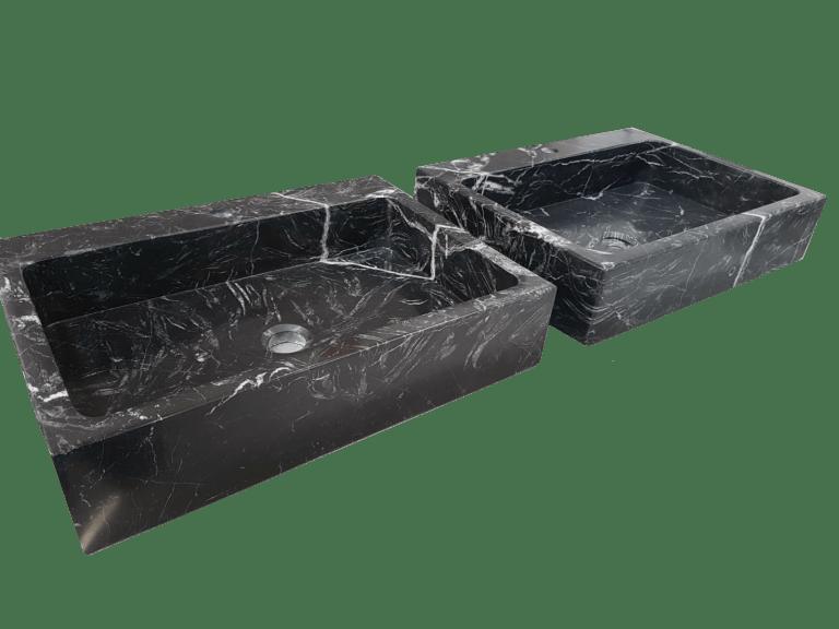 Lavabo de Mármol modelo AM20 en color negro marquina forma rectangular 2
