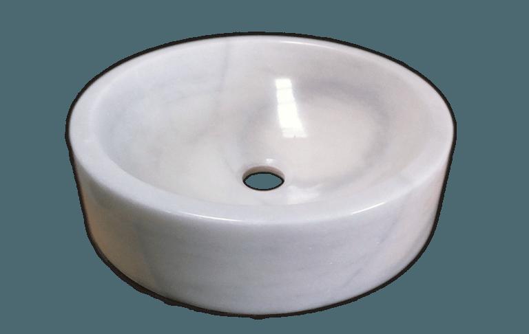 Lavabo de mármol modelo AM27 en color blanco macael