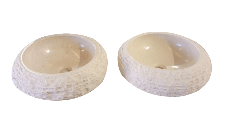 Lavabo de mármol modelo AM41 color blanco macael
